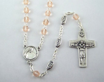 Pope Francis Faith Hope Love Rosary Available in Your Choice Color of Beads