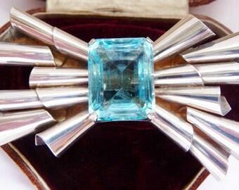 Coro sterling bow pin brooch   modernist silver aqua glass stone   1940s vintage jewelry   emerald cut stone   large faux aquamarine