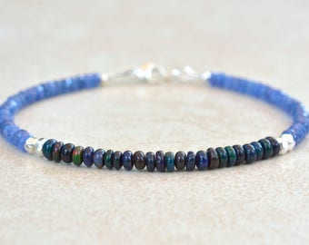 September Birthstone, Sapphire Bracelet, Black Opal Bracelet, October Birthstone, Beaded Gemstone Bracelet, Stack Bracelet, Gift for Her