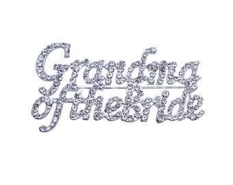 Grandma of the Bride Rhinestone Pin - Silver