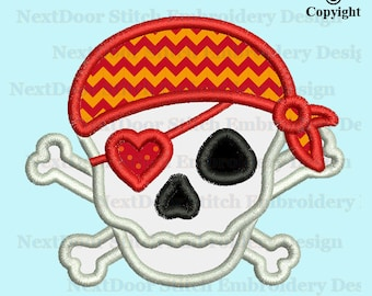 Pirate skull embroidery design, crossbones skull machine embroidery applique download,  mons-009