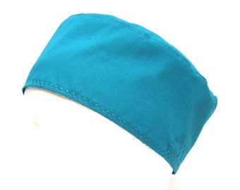 Mens Teal Scrub Hat. Surgical Cap or Chefs Skull Cap