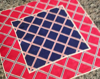 Red, White and Navy Blue Rope and Diamond Design Handkerchief