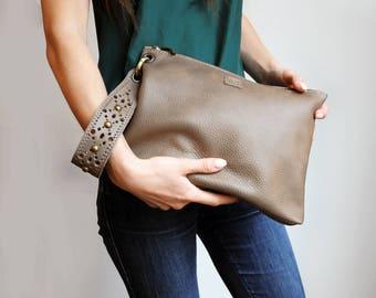 Leather wristlet clutch, Grey brown clutch with luxurious wrist strap