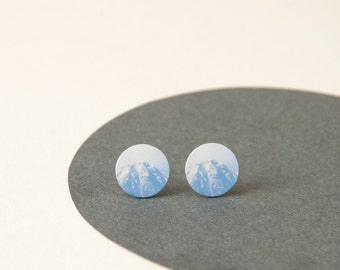 Mountain Studs -Photographic Mountain Earrings - Blue Stud earrings