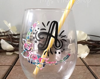 Lettered wine glass.