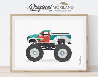 Monster Truck Art Print, Monster Truck Art, Transportation Art, Boys Nursery Decor, Truck Prints, Truck Birthday, Automobile Printable