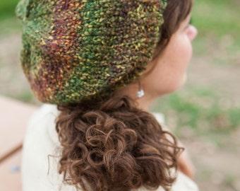 Green Chunky Knit Slouch Beanie