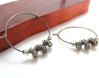 Sterling Silver Hoop Earrings Darkened and Bright Silver Contrasted Coiled Wire Detail