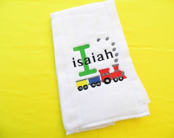 Personalized Train Burping cloth