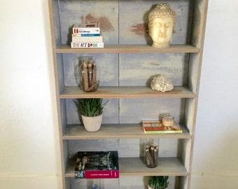 Shabby chic distressed shelf shabby chic bookshelf,Vintage entryway shelf, farmhouse,