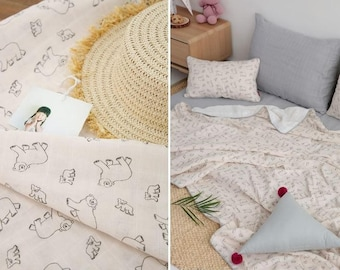 Lovely Bear Pattern Cotton Double Gauze Fabric by Yard - Warm Beige Color