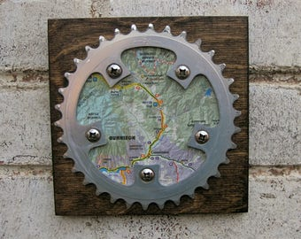 "6""x6"" Recycled Bicycle Chainring Gunnison/Crested Butte Map Plaque"