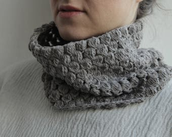 Grey - Linen and Cotton Cowl scarf