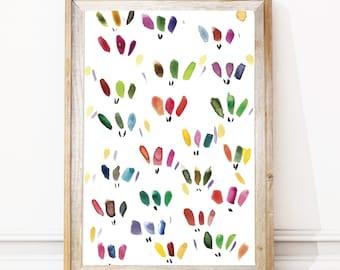 Printable Watercolor Art,Nursery Wall Art,Instant Download Art, Kids Room Prints, Modern Watercolor Prints, Art Prints Download,Wall Art
