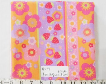 """Fabric-1yd 22"""" piece-coordinate to Strawberry Shortcake circa 2004/strawberries/flower/berries/red/pink/hearts/pink background/words (#1089)"""