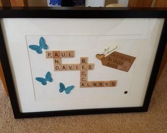 Personalised Wedding/Anniversary/Valentine Scrabble Art