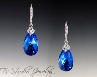 Cobalt Royal Blue Teardrop Crystal Bridal or Bridesmaid Earrings - Available in Several Colors - MEGAN