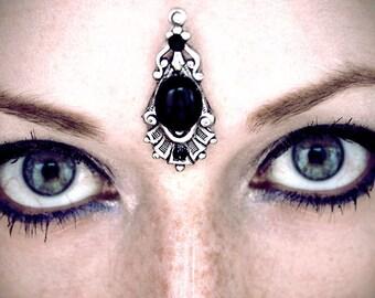 Hecate Bindi, black bindi, face gems, forehead jewelry, face jewels, belly dance costume, festival bindi, festival accessories