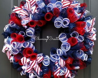 4th of July Wreath, Fourth of July Wreath, Summer Wreath, Fourth of July Decor, Memorial Day Wreath, Patriotic Wreath, Veterans Day Wreath