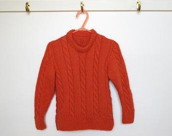 ON SALE Child's Raglan Pullover Sweater Jumper Wool, Orange, Cabled