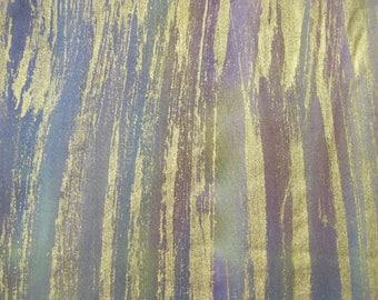 Batik green purple metallic stripe fat quarter