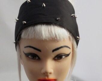 Headband Black Metal Spikes Head scarf Wrap Tie Studded Studs