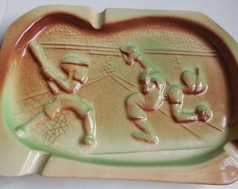 "Baseball Ashtray 8""x6"", Ceramic Baseball Players Ashtray, Vintage USA Ashtray, Man Cave Ashtray, Men's Gifts, Bar Tray for Picks & Spoons"