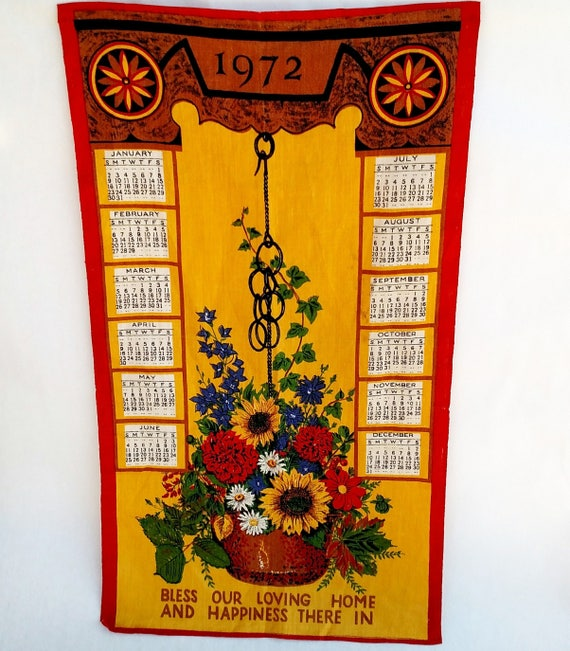 Vintage 1972 Linen Tea Towel Calendar with Colorful Hanging Flower Pot
