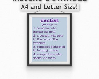 Dentist Definition Print//Orthodontist//Gift//Instant Download//8x10//A4//Printable