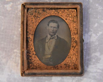 Antique Tintype Photo of a Gentleman in Union Case