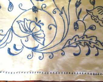 Linen Tablecloth with Blue Hand Embroidery