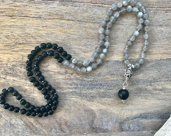 Unisex Grey Moonstone and Black Obsidian 108 Mala Necklace /  Smaller Mala Beads / Stocking Stuffer / Buddhist Necklace / Gifts for wife