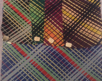 Vintage salesman's fabric sample/swatch, Daniel N. Cooke & Bro., West 37th Street, New York, 1940s, silk plaid, textile sample,