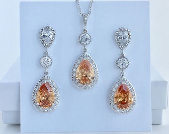 Champagne Crystal Bridal Set Peach Bridal Cubic Zirconia Jewelry Set Champagne Wedding Jewelry Set Champagne Bridesmaid Crystal Jewelry