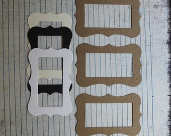 3 medium bracket rectangle frame Die cuts [choose chipboard or cardstock]