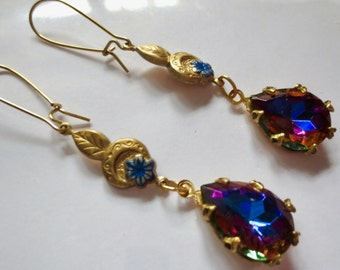 Edwardian earrings vintage style  1920s 1930s Art Deco earrings blue crystal drop long Victorian earrings Edwardian jewellery