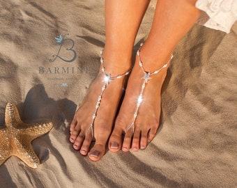 Starfish barefoot sandals, Bridal foot jewelry, Beaded Beach Destination wedding barefoot sandles, Footless sandals, Anklet, Beaded sandles