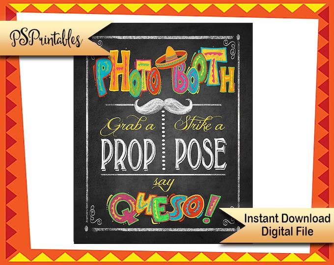 Printable wedding Photo Booth Fiesta sign in chalkboard style, children's fiesta birthday sign, mexican photo booth sign mexican fiesta sign