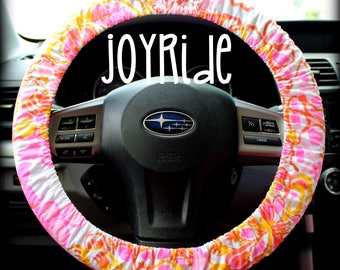 Steering Wheel Cover Lilly Pulitzer Happiness Is...Fabric Fully lined with Grip Tight Designer Car Accessories Coral For Girls Woman