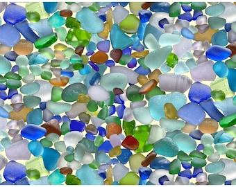 Landscape Medley - Beach Glass - Elizabeth's Studio (456-MULTI) Cotton Fabric Yardage