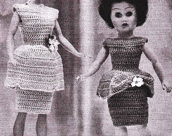 """Crocheted Doll's Dress Pattern Vintage Fits 8"""" 10"""" 12"""" 19"""" Doll's Crocheting Pattern *PDF Instant Download*"""