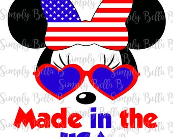 Made in the USA Minnie Mouse INSTANT DOWNLOAD Printable Digital Iron-On Transfer Design - 4th of July