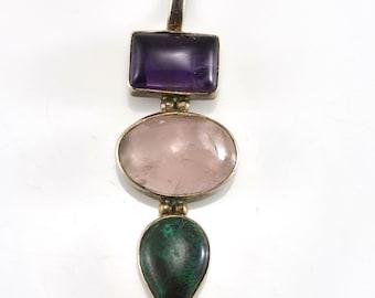 Amethyst Pendant, Rose Quartz, Malachite, Sterling Pendant