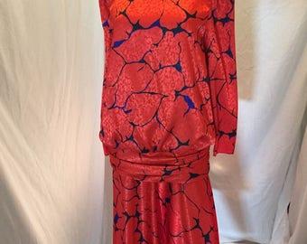 Vintage Retro 70s 80s Caron Chicago Red Blue and Black Pattern Drop Waist Dress
