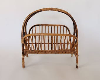 Vintage Bamboo Folding Magazine Rack With Handle Natural Mid Mod Home Decor