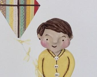Spring Boy with Kite Original polymer clay folk art sculpture
