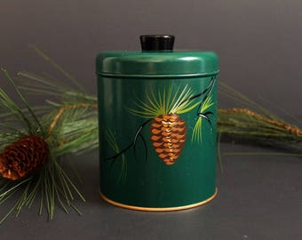 Vintage Metal Canister by Ramsburg Dark Green with Handpainted Pine Cone and Sprig