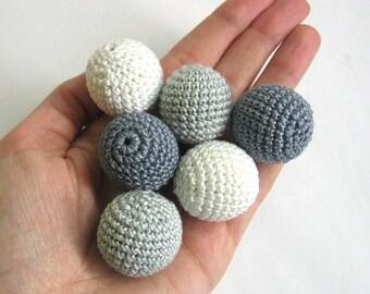 Crocheted beads 27 mm 6pc handmade round white and gray