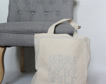 Inspiration Canvas tote bag - grocery bag, library bag - baby blue